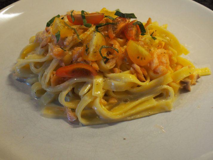 spaghetti carbonara met zalm