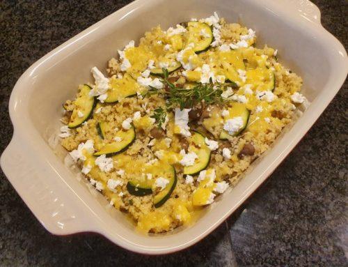 Herfstige couscous salade met courgette en paddenstoelen
