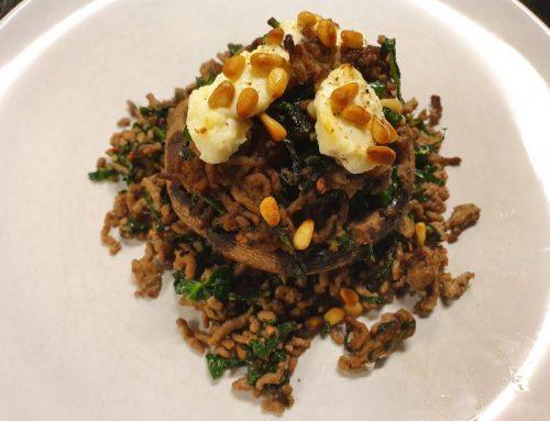 Portobello gevuld met spicy gehakt