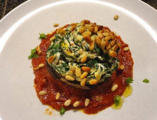 Portobello met spinazie, paddenstoelen en ricotta